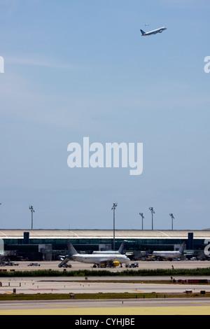 Passenger Airplanes at Barcelona El Prat Airport, Spain - Stock Photo