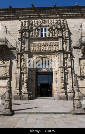 ENTRANCE OF THE PARADOR DOS REIS CATOLICOS IN SANTIAGO DE COMPOSTELA, GALICIA, SPAIN - Stock Photo