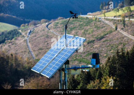 Portable weather station. Powered by solar energy. Measures all kind of weather data and transmits the data to a - Stock Photo