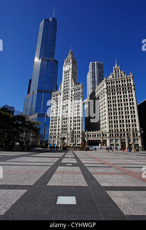 Trump International Hotel and Tower and Wrigley Building on the city skyline, Chicago, Illinois, America - Stock Photo
