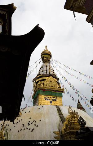 Swayambhunath stupa, aka monkey temple, in Kathmandu, Nepal - Stock Photo