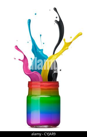 bottle of rainbow color ink with cmyk splash - Stock Photo