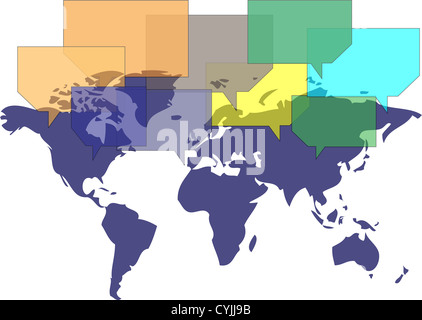 World map with several balloons communicating - Stock Photo
