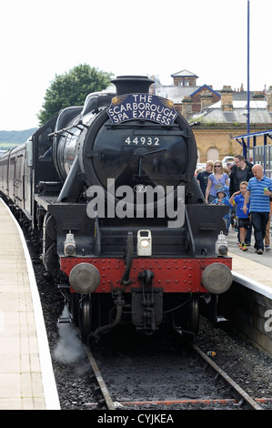 The scarborough spa express in scarborough railway station north yorkshire england uk - Stock Photo