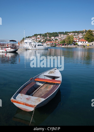 A fishing boat moored in Ohrid harbour, Lake Ohrid, Republic of Macedonia - Stock Photo