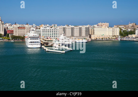 Cruise port, El Morro Castle and City of San Juan, Puerto Rico - Stock Photo