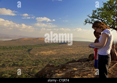 Overlooking the lower grasslands of Ethiopia's Nechisar National Park, Ethiopia , Africa - Stock Photo