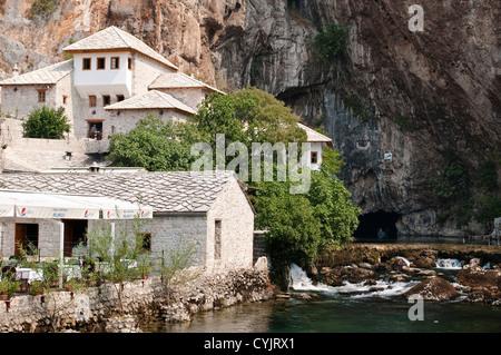 Tekija - Dervish house and Buna river spring, Blagaj, Bosnia and Herzegovina - Stock Photo