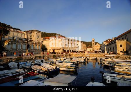 croatia, dalmatian islands, hvar island, hvar town, harbour - Stock Photo