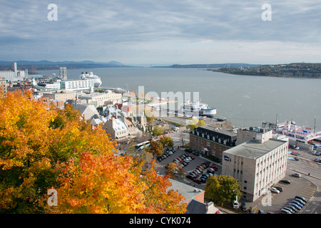 Canada, Quebec, Quebec City. Overview of historic Old Quebec City, Lower Town (Basse Ville). - Stock Photo