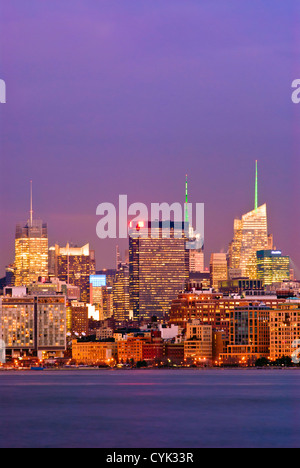 Midtown West Skyline, New York City, Manhattan, including the New York Times, One Penn Plaza and Bank of America - Stock Photo