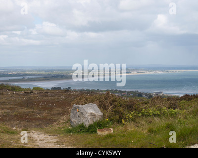 Howth on the coast near Dublin Ireland has a scenic looped walk, with different lenghts, view after passing Ben - Stock Photo