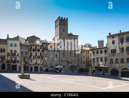 Piazza Grande in Arezzo, Tuscany, Italy - Stock Photo