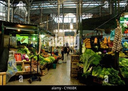 Argentina. Buenos Aires. San Telmo. Mercado San Telmo. Produce stall. - Stock Photo