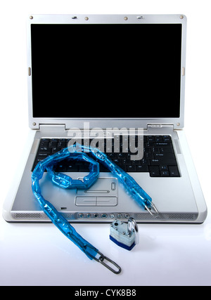 Padlock on laptop computer representing security - Stock Photo