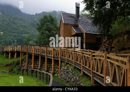 Chile. South America. Mapuche Museum and Cultural Center in Curarrehue. IX Region de la Araucania. Andes Mountains. - Stock Photo