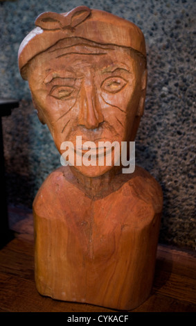Chile. South America. Mapuche Museum and Cultural Center in Curarrehue. Mapuche wood carving. Araucania Region. - Stock Photo