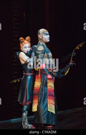 Cirque du Soleil actors performing KA in Las Vegas, Nevada. - Stock Photo