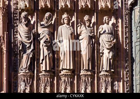 Strasbourg, Notre-Dame gothic cathedral 14th century, jamb statues of the Prophets of the Old Testament at main - Stock Photo