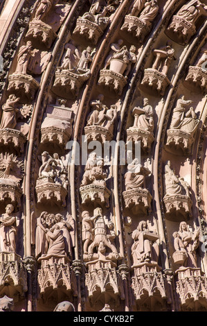 Strasbourg, Notre-Dame gothic cathedral 14th century, jamb statues of  main portal, Alsace, France, Europe, - Stock Photo