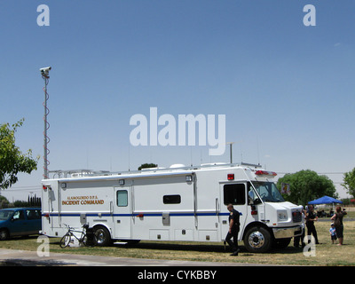 Alamogordo (New Mexico) Department of Public Safety incident command vehicle, deployed in Washington Park for the - Stock Photo