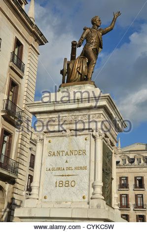 statue of Pedro Velarde, hero of the Spanish war of independence, at the South side of the Plaza Porticada in Santander. - Stock Photo