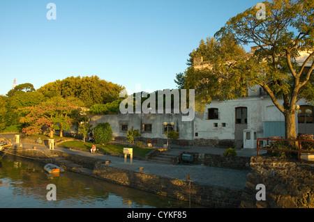 Uruguay. Colonia del Sacramento. Barrio Historico. Small park on the waterfront. - Stock Photo