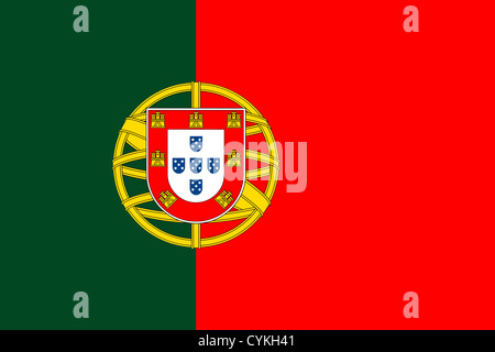 National flag of Portugal. - Stock Photo