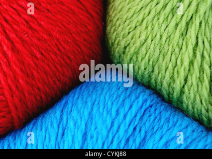 Skeins Of Peruvian Highland Wool Yarn In Primary Colors Red Blue