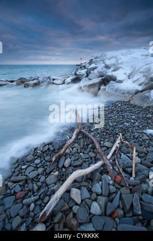 Winter landscape on Lake Ontario - Stock Photo