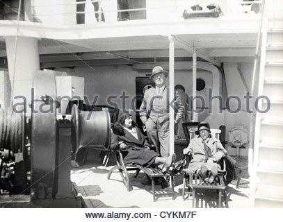 early 1900s on relaxing on a passengers ship - Stock Photo