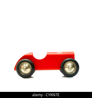 Wooden red toy car, vintage look - Stock Photo