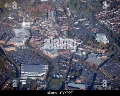 Kidderminster Town Centre from the air, West Midlands, England UK - Stock Photo