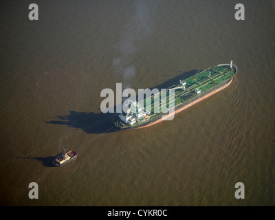 Ship entering Liverpool Docks at the mouth of the River Mersey, North West England, UK - Stock Photo