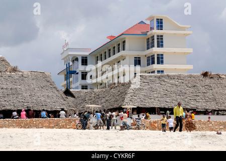 Beach of Stella Maris Hostel in Bagamoyo, Tanzania - Stock Photo
