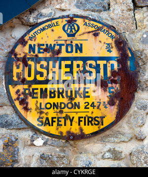 AA plaque on wall in Bosherston, a Pembrokeshire village, West Wales, UK. - Stock Photo