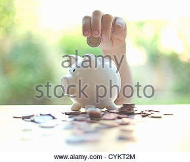 Hang putting coins in piggy bank - Stock Photo