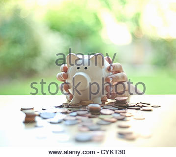 Hands holding piggy bank - Stock Photo