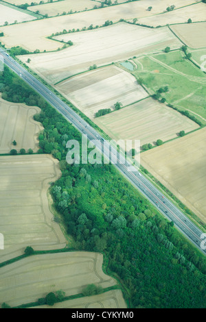 Aerial view of rural fields and road - Stock Photo