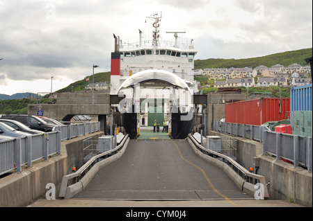 Car passenger ferry bow doors open waiting to load cars - Stock Photo