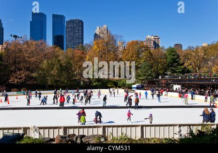 Ice Skating Ring in Central Park, New York City - Stock Photo