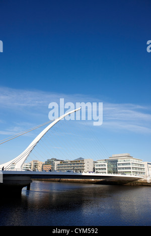 view of the samuel beckett bridge over the river liffey dublin republic of ireland - Stock Photo