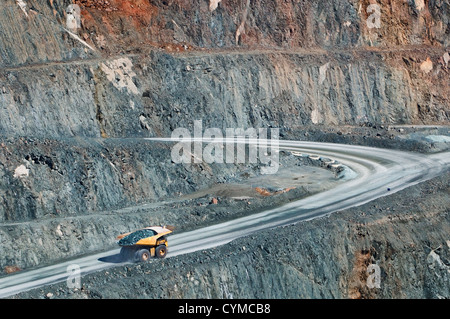 Truck with quarry on its way out of Super Pit. - Stock Photo