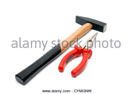 Hammer with wooden handle and flat-nose pliers with red handles isolated over white background - Stock Photo