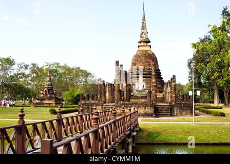 Wat Sa Si at the Sukhothai Historical Park in Thailand - Stock Photo