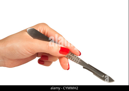 Isolated cutting surgery scalpel on white background - Stock Photo
