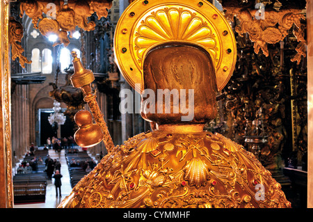 Spain, St. James Way: Backside of the altar statue of Apostle Saint James in the cathedral of Santiago de Compostela - Stock Photo