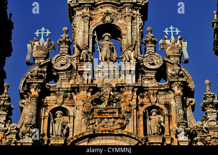 Spain, St. James Way: Detail of the front facade of Santiago de Compostela´s Cathedral - Stock Photo