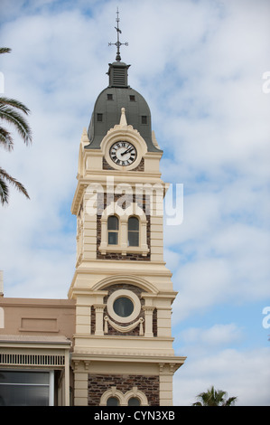 Main clock tower of the Glenelg town hall in Adelaide, South Australia - Stock Photo