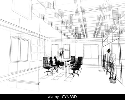 Interior Design Office Sketches the modern office interior design sketch (3d render stock photo
